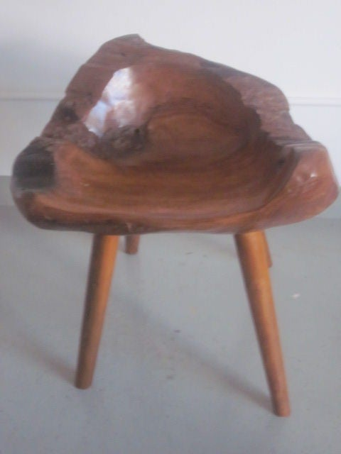 Pair of Hand-Carved 'Modern Craftsman' Stools / Slipper Chairs 3
