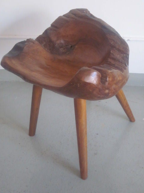 Pair of Hand-Carved 'Modern Craftsman' Stools / Slipper Chairs 4