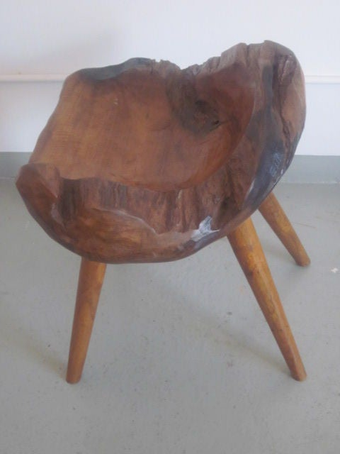 Pair of Hand-Carved 'Modern Craftsman' Stools / Slipper Chairs 5