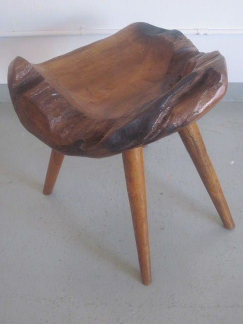 Pair of Hand-Carved 'Modern Craftsman' Stools / Slipper Chairs 6