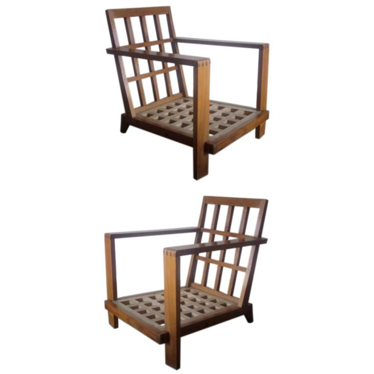 Pair of Grid Back Lounge Chairs by Rene Gabriel, Paris, 1947