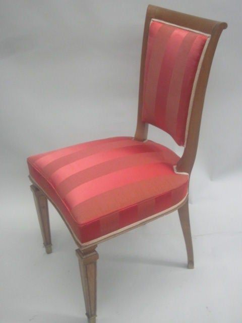 2 French Mid-Century Modern Neoclassical Side Chairs Attributed to André Arbus In Good Condition For Sale In New York, NY