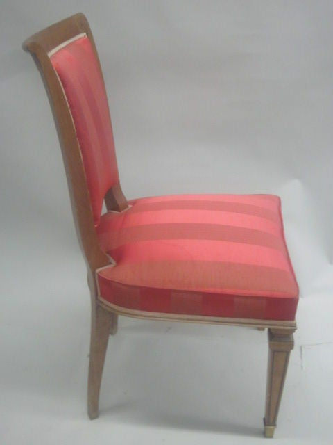 Cherry 2 French Mid-Century Modern Neoclassical Side Chairs Attributed to André Arbus For Sale