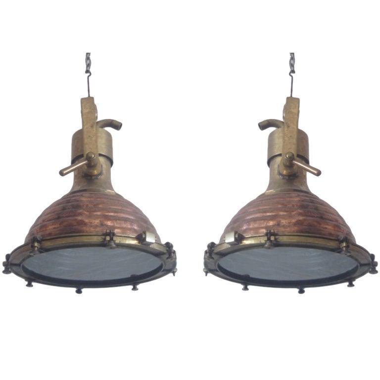 2 large swedish mid century marine industrial chandeliers. Black Bedroom Furniture Sets. Home Design Ideas