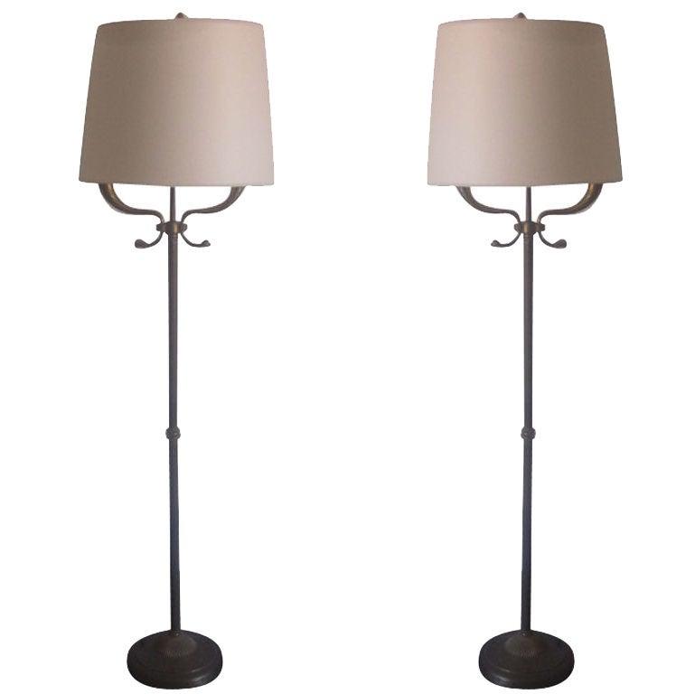 Pair Italian Mid-Century Brass Floor Lamps Attributed Tomaso Buzzi and Gio Ponti