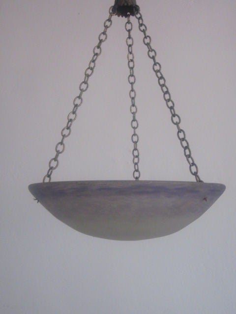 French Art Nouveau 'Pate Verre' Chandelier / Pendant by Degue In Good Condition For Sale In New York, NY
