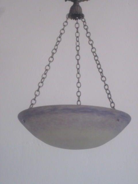 20th Century French Art Nouveau 'Pate Verre' Chandelier / Pendant by Degue For Sale