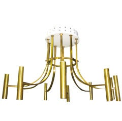 Large Italian Mid-Century Modern Neoclassical Chandelier in Brass