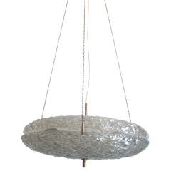Swedish Modern Double Ring Glass Pendant by Carl Fagerlund for Orrefors