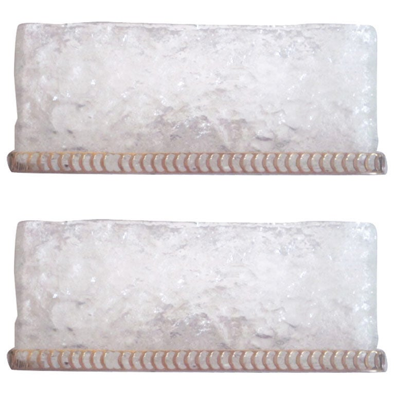 Pair of Handblown Murano Sconces by Mazzega