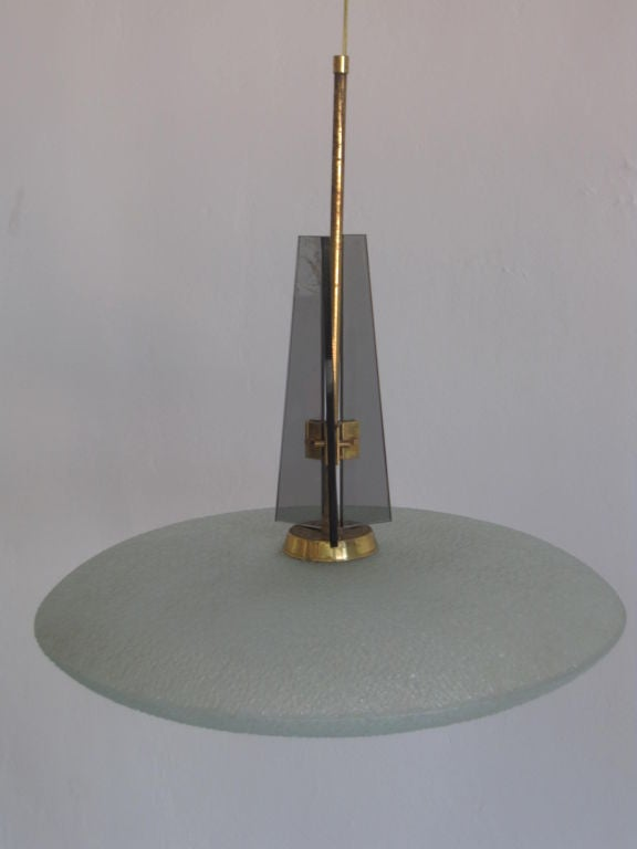 Italian Mid-Century Modern chandelier / fixture by Pietro Chiesa for Fontana Arte in double saucer form with opaque, sanitized glass in a rough textured pattern.  Height is adaptable by modifying the stem up or down.  References: Gio Ponti,