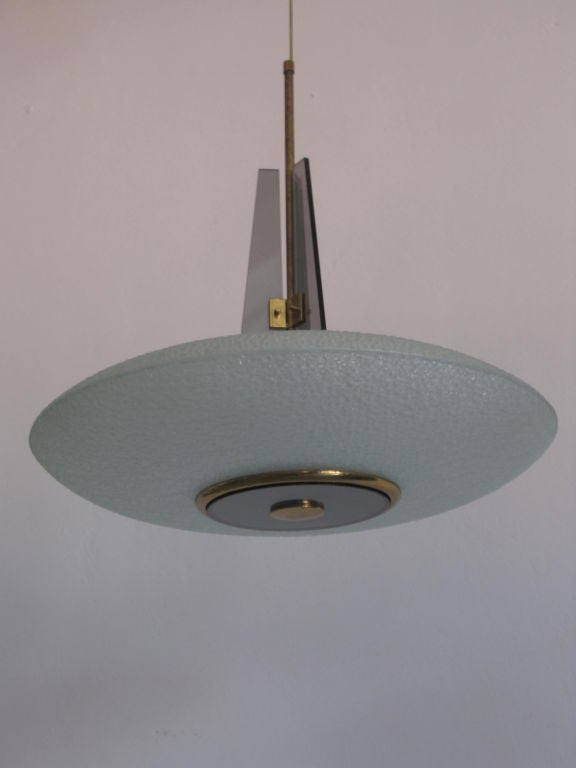 Italian Mid-Century Glass Chandelier / Pendant by Pietro Chiesa for Fontana Arte In Good Condition For Sale In New York, NY