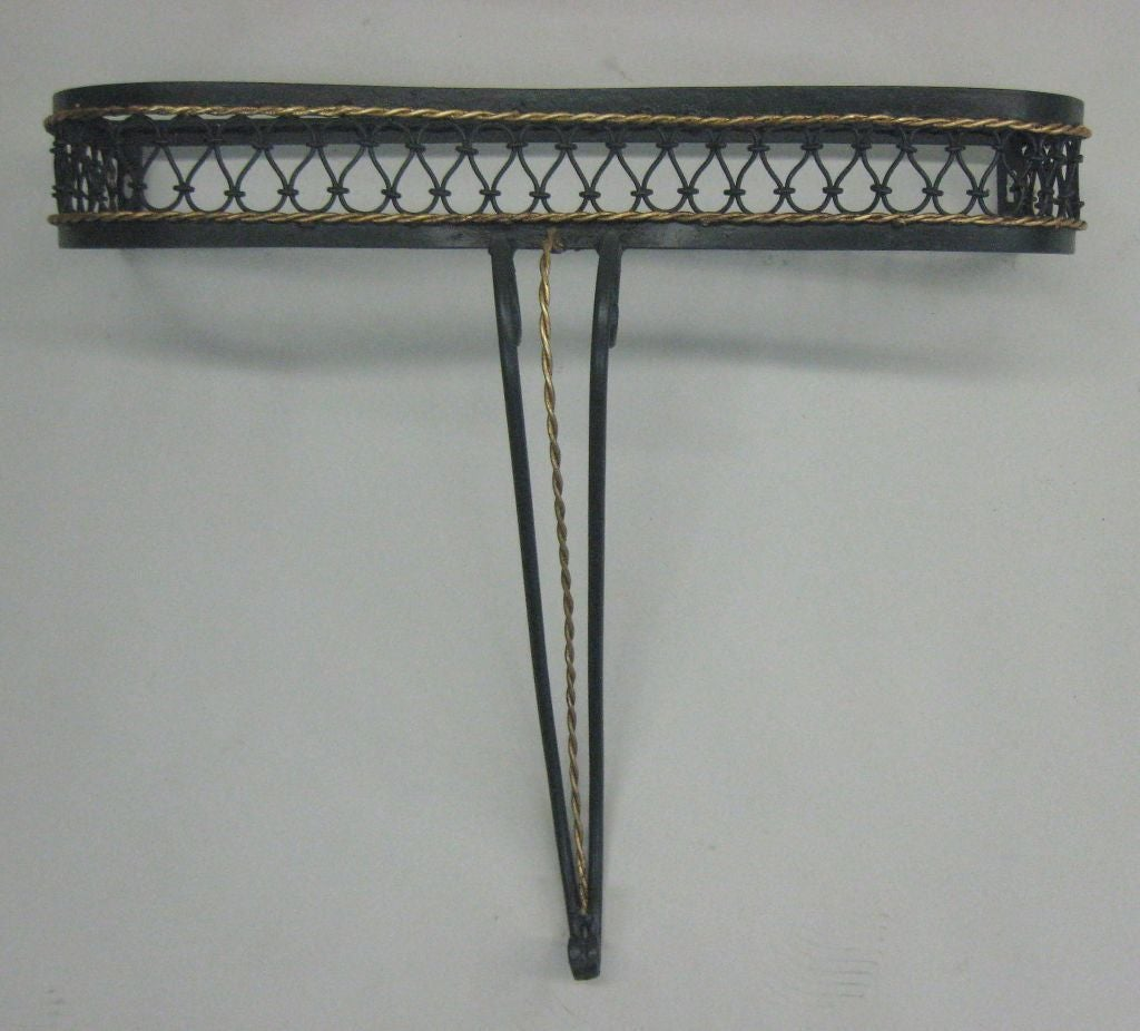 Mid-Century Modern French Mid-Century Partially Gilt Wrought Iron Wall Console Attr. to Rene Prou For Sale