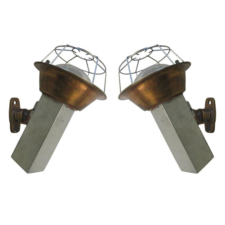 Pair of French Mid-Century Articulating Marine Industrial Sconces / Fixtures