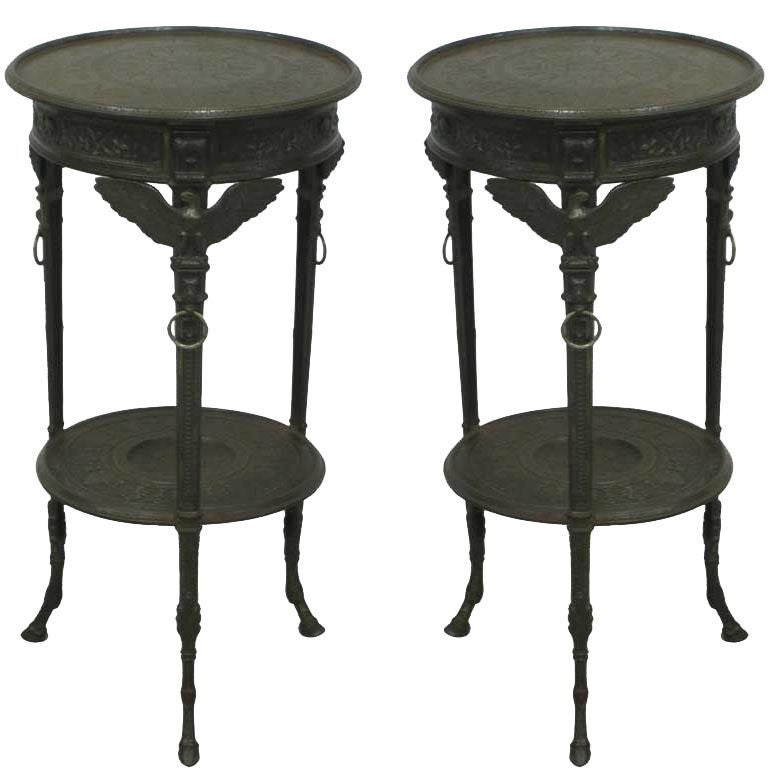 Rare and important pair of french napoleon iii cast iron for Cast iron end table