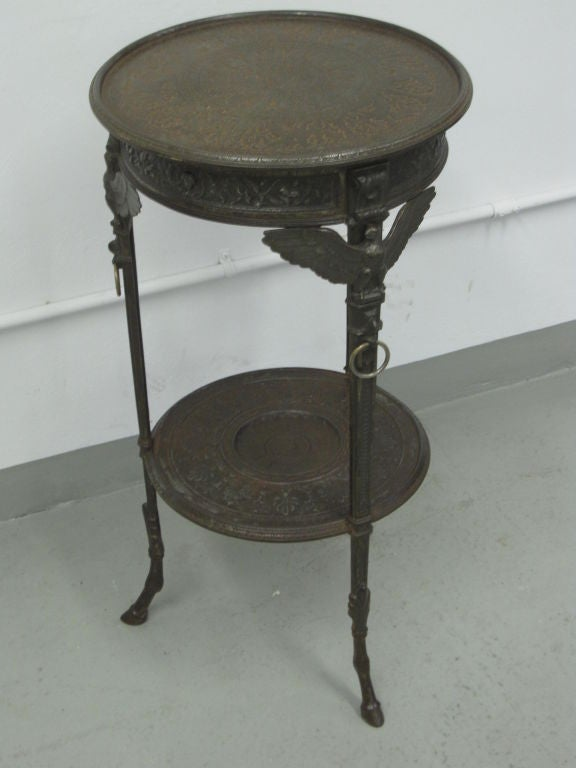 20th Century Rare Pair of French Neoclassical / Napoleon III Cast Iron Side / End Tables For Sale