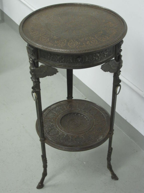 Rare Pair of French Neoclassical / Napoleon III Cast Iron Side / End Tables For Sale 1