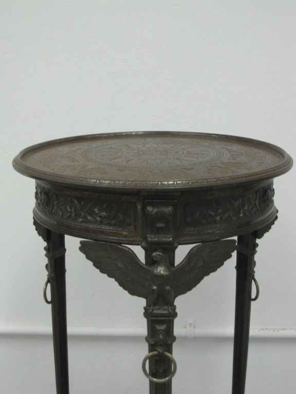 Rare Pair of French Neoclassical / Napoleon III Cast Iron Side / End Tables For Sale 2
