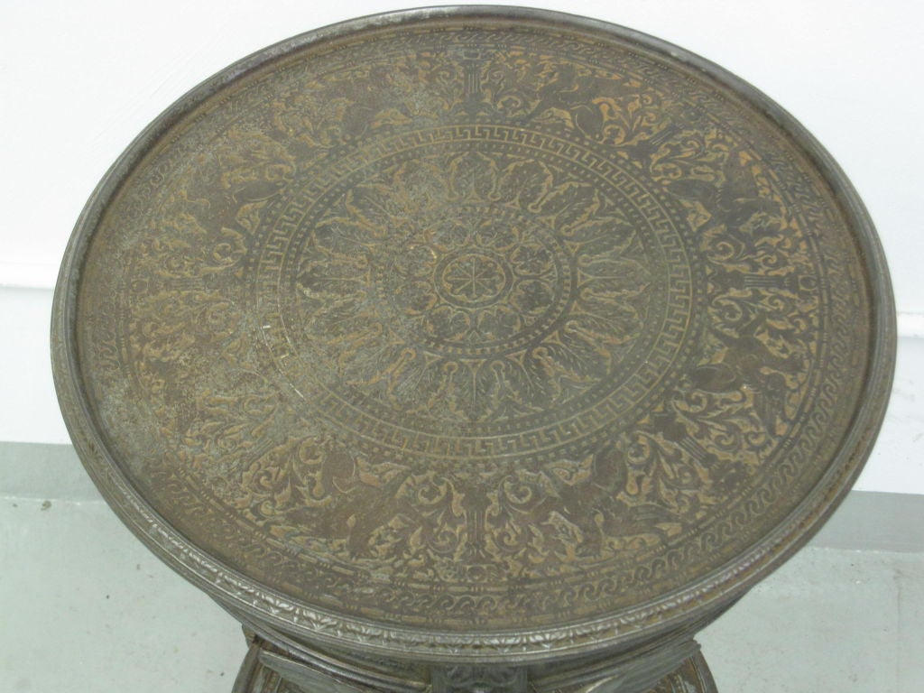 Rare Pair of French Neoclassical / Napoleon III Cast Iron Side / End Tables For Sale 4