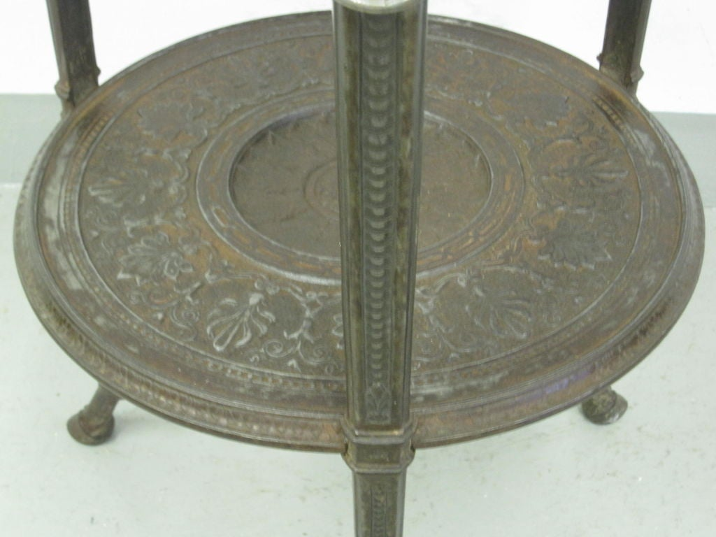 Rare Pair of French Neoclassical / Napoleon III Cast Iron Side / End Tables For Sale 5