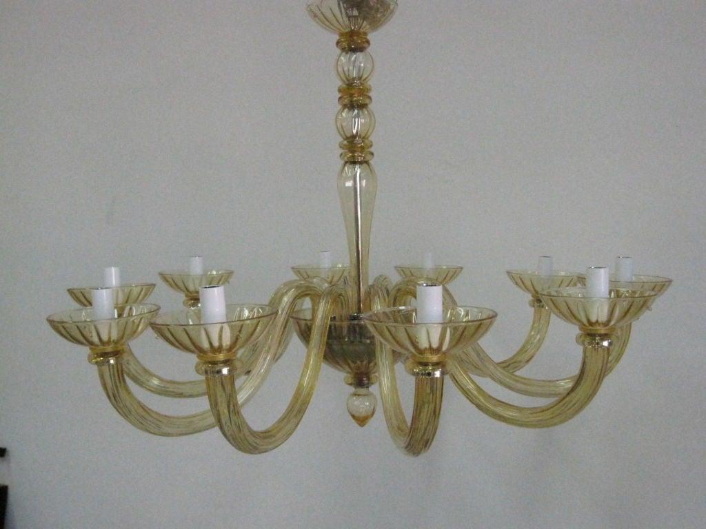 2 Italian Mid Century Modern Amber Murano Glass Chandelier