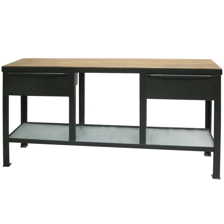 french industrial console sideboard attributed to jean. Black Bedroom Furniture Sets. Home Design Ideas
