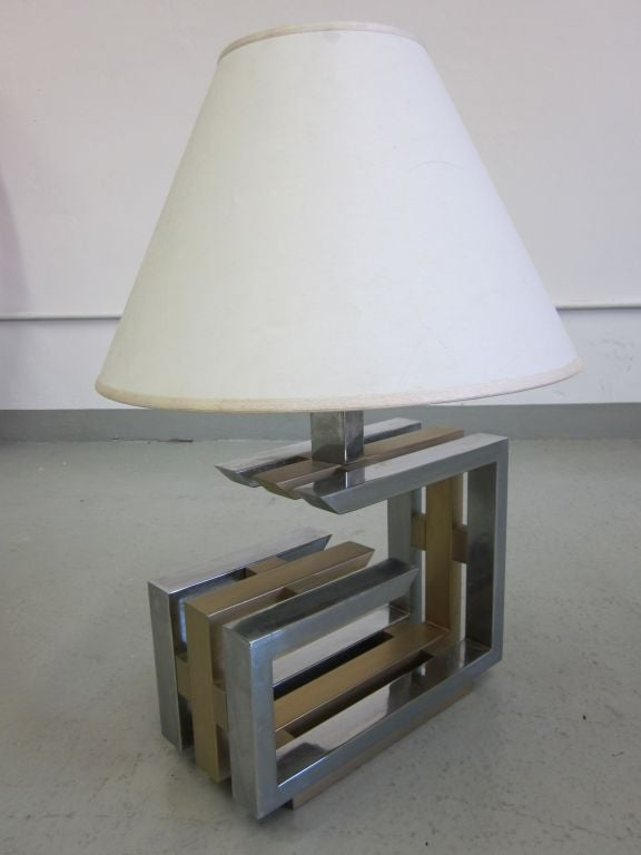 Pair of Italian Mid-Century Modern Nickel and Brass Table Lamps by Romeo Rega For Sale 3