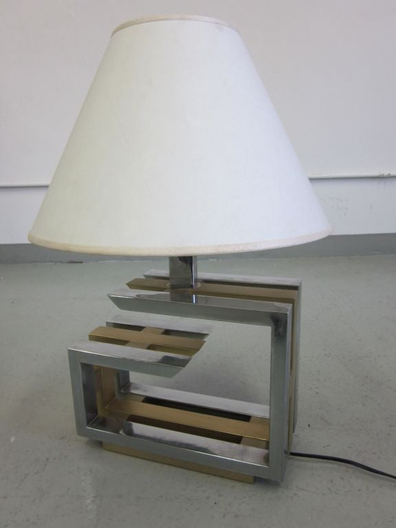 Pair of Italian Mid-Century Modern Nickel and Brass Table Lamps by Romeo Rega In Good Condition For Sale In New York, NY