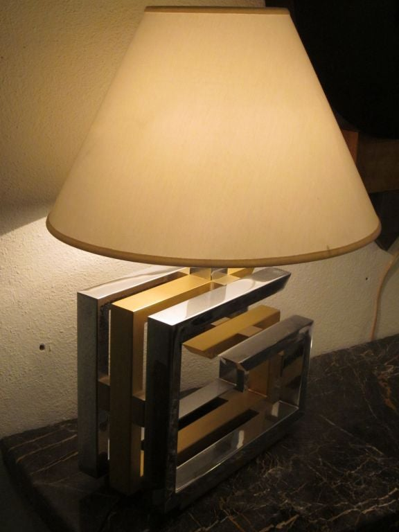 Pair of Italian Mid-Century Modern Nickel and Brass Table Lamps by Romeo Rega For Sale 1