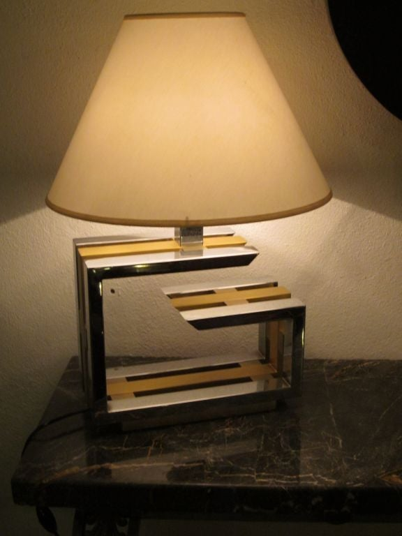 Pair of Italian Mid-Century Modern Nickel and Brass Table Lamps by Romeo Rega For Sale 2