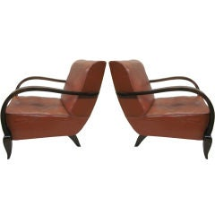 Pair of French Mid-Century Modern Wood & Leather Lounge Chairs Attr. Rene Drouet