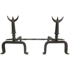 Pair of French 1940s Andirons and Fire Tool in the Spirit of Giacometti