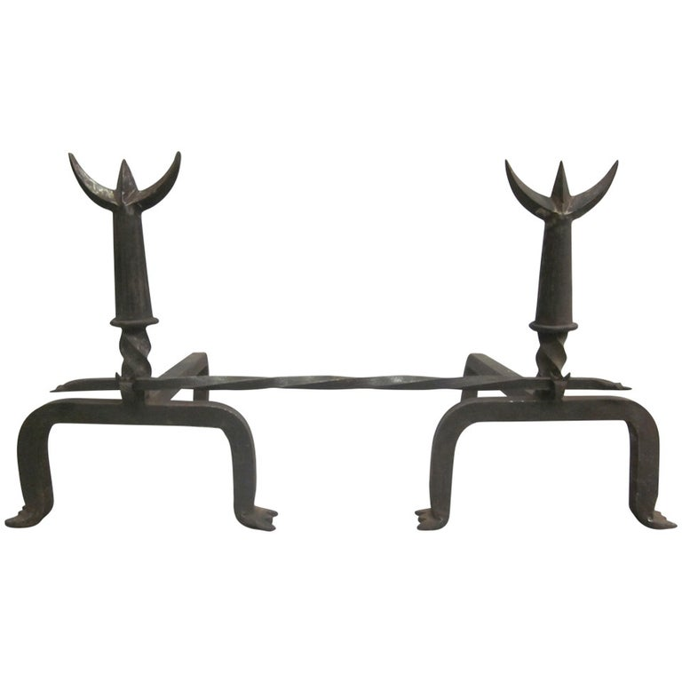 Pair French Mid-Century Wrought Iron Andirons & Fire Tool, Spirit of Giacometti For Sale