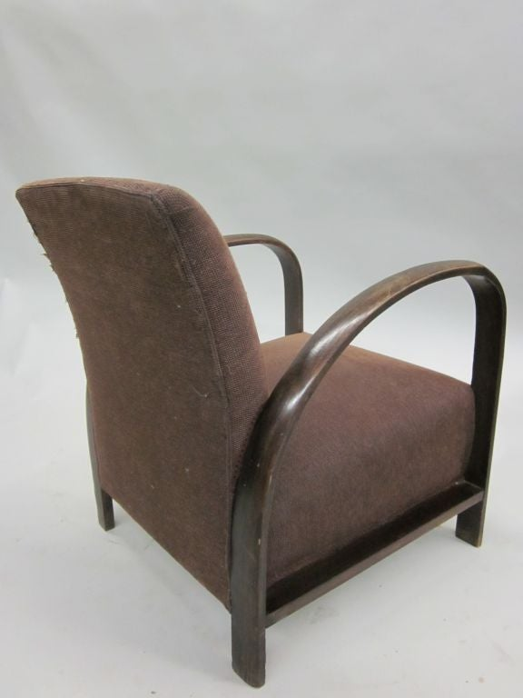 Pair of French Mid-Century Modern Lounge Chairs, in Style of Jacques Adnet, 1930 In Good Condition For Sale In New York, NY