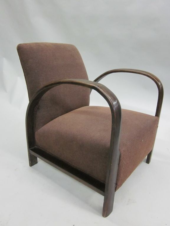 Mid-20th Century Pair of French Mid-Century Modern Lounge Chairs, in Style of Jacques Adnet, 1930 For Sale