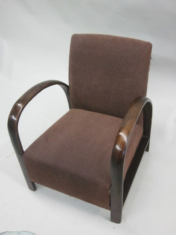 Pair of French Mid-Century Modern Lounge Chairs, in Style of Jacques Adnet, 1930 For Sale 1