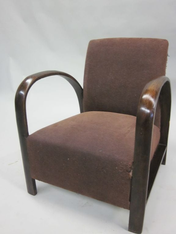 Pair of French Mid-Century Modern Lounge Chairs, in Style of Jacques Adnet, 1930 For Sale 2