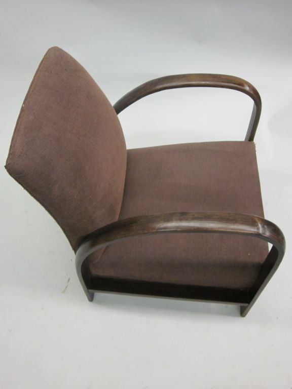 Pair of French Mid-Century Modern Lounge Chairs, in Style of Jacques Adnet, 1930 For Sale 3