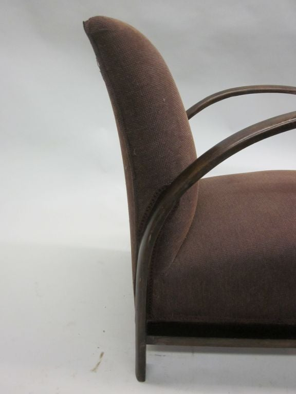 Pair of French Mid-Century Modern Lounge Chairs, in Style of Jacques Adnet, 1930 For Sale 4