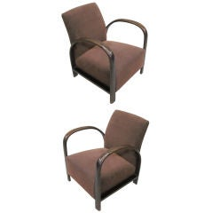 Pair of French Mid-Century Modern Lounge Chairs, in Style of Jacques Adnet, 1930