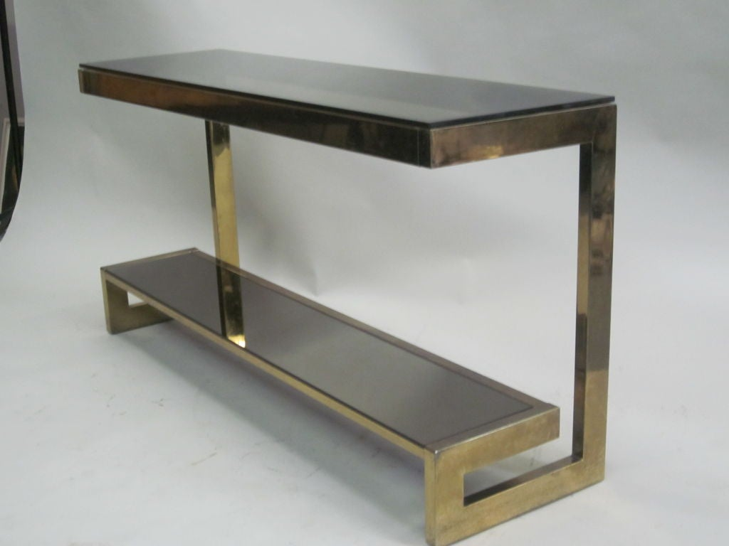 french midcentury modern double level brass console  sofa table  - french midcentury modern double level brass console  sofa table maisonjanse