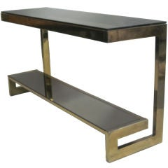 French Mid-Century Modern Double Level Brass Console / Sofa Table, Maison Janse