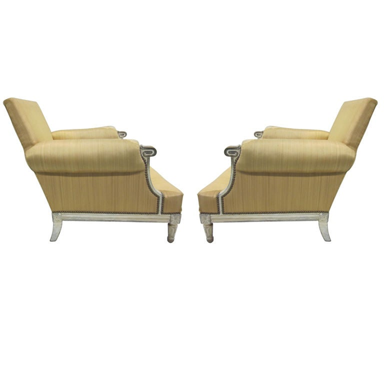Important Pair of Modern Neoclassical Louis XVI  Lounge Chairs by Maison Jansen