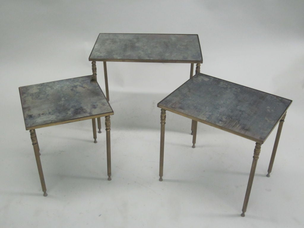 Mid-20th Century Set 3 French Mid-Century Modern Brass & Mirror Nesting Tables by Maison Jansen For Sale