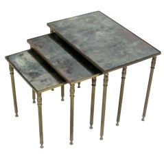 Set 3 French Mid-Century Modern Brass & Mirror Nesting Tables by Maison Jansen