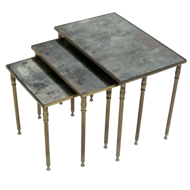 Set 3 French Mid-Century Modern Brass & Mirror Nesting Tables by Maison Jansen
