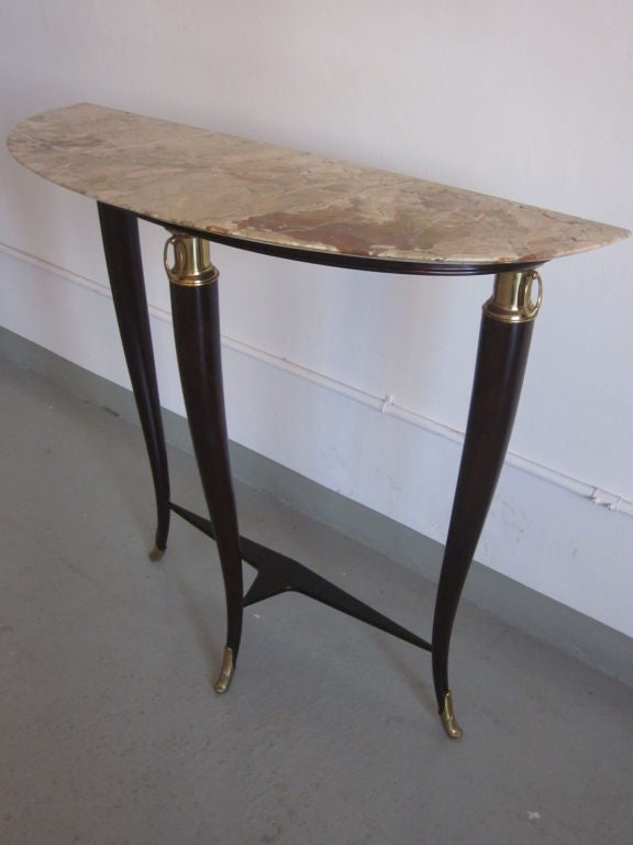 Brass Italian Mid-Century Modern Neoclassical Wood & Marble Console by Paulo Buffa For Sale