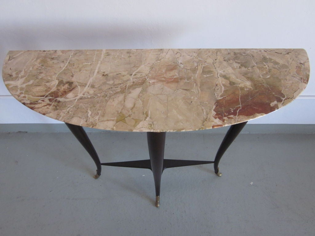Italian Mid-Century Modern Neoclassical Wood & Marble Console by Paulo Buffa For Sale 2