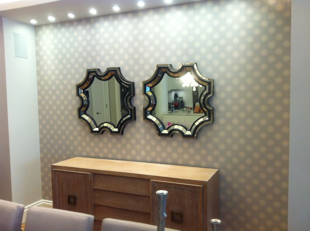 20th Century 2 French Mid-Century Style Venetian Octagonal Mirrors in Style of Serge Roche For Sale