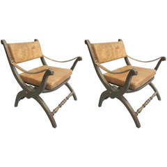 Pair Italian Mid-Century Modern Neoclassical Leather Armchairs / Lounge Chairs